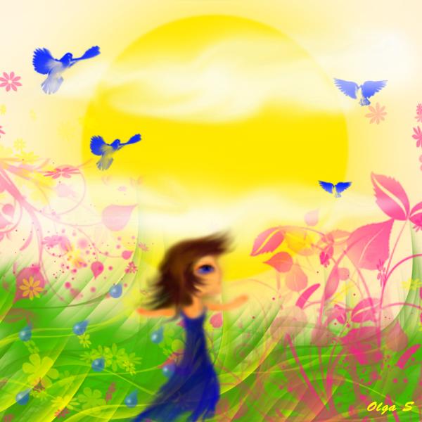 иллюстрация, коллаж к сказке синее пёрышко, автор Ольга Савченко Бастет