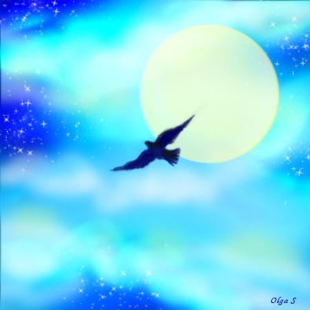 иллюстрация, птица, небо
