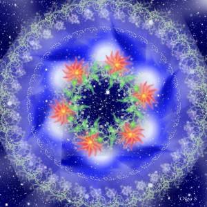 Мандала цветы и звёзды
