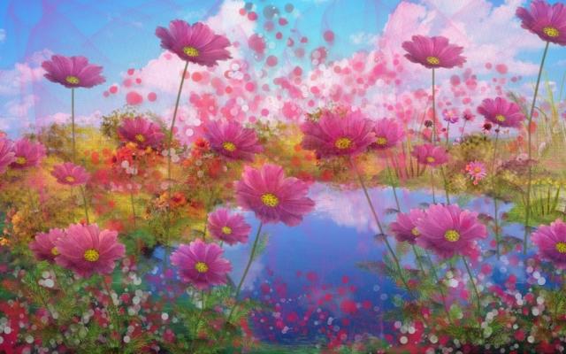 озеро в цветах