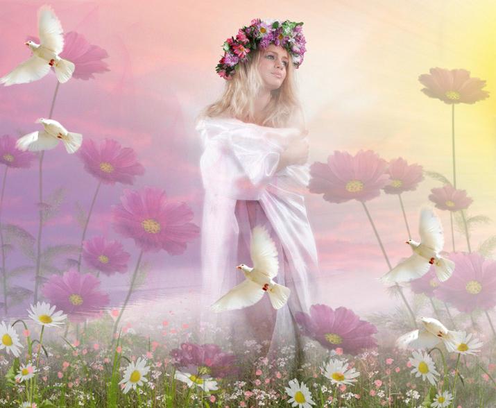 девушка рассвет цветы